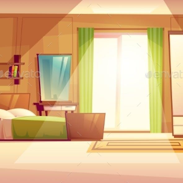 Vector Cartoon Illustration of a Bedroom Interior