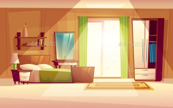 Vector Cartoon Illustration of a Bedroom Interior - Man-made Objects Objects