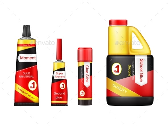 Vector Realistic Glue Tube Stick Bottle Mockup Set - Man-made Objects Objects
