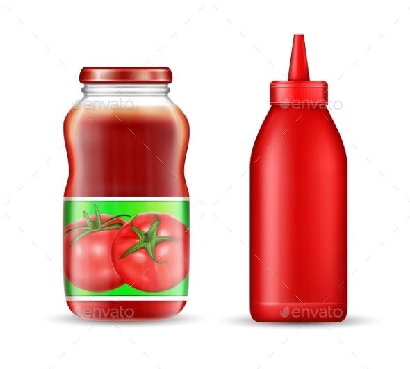 Vector Realistic Tomato Ketchup Bottles Mockup Set - Food Objects