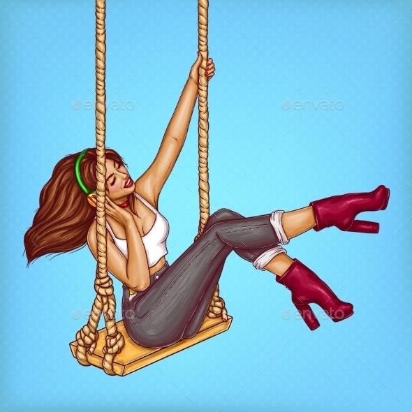 Vector Pop Art Girl on Swing with Headphones - People Characters