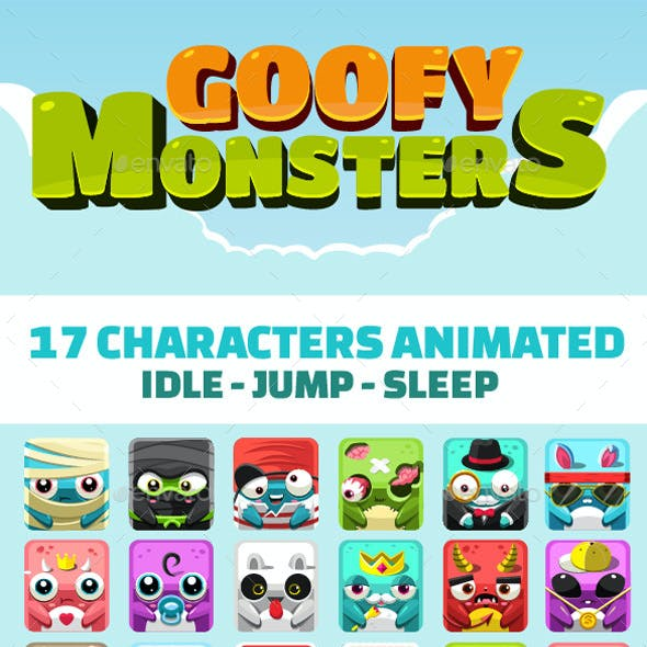 Cartoon Monsters Game Assets