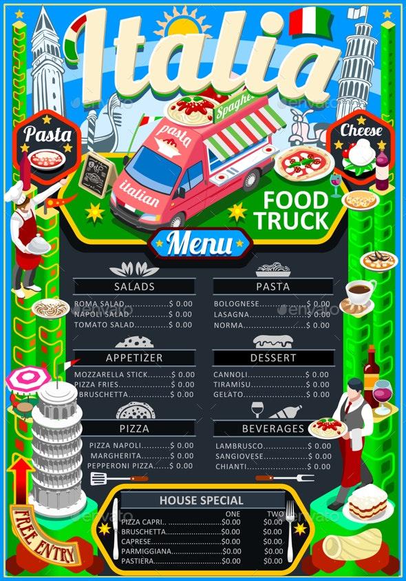 Food Truck Menu Street Food Pizza Festival Vector - Vectors