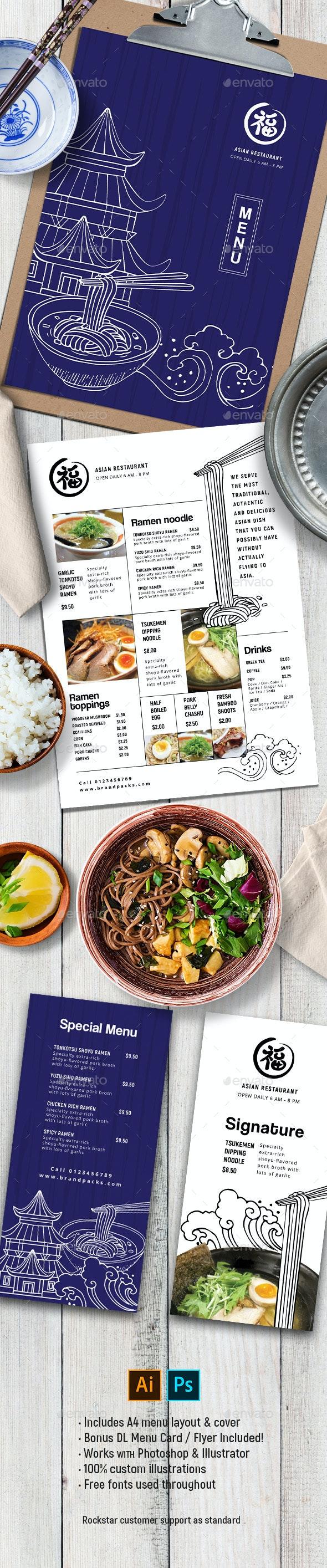 Asian Menu Template - Food Menus Print Templates