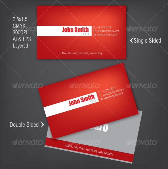 Simple Business Card in Red Color - Corporate Business Cards