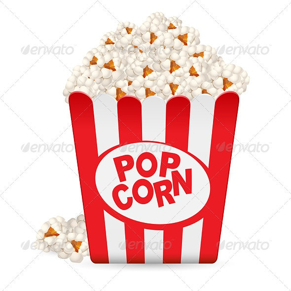 Popcorn in a striped tub  - Objects Vectors