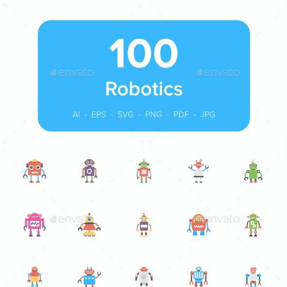 100 Robotics Flat Icons
