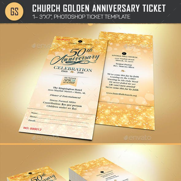 Church Golden Anniversary Ticket Template