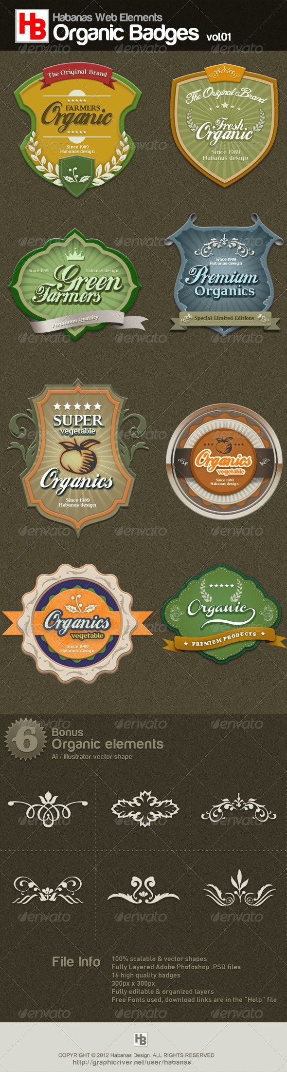 Organic Badges 01 - Badges & Stickers Web Elements