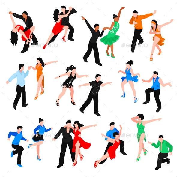 Dances Isometric People Set