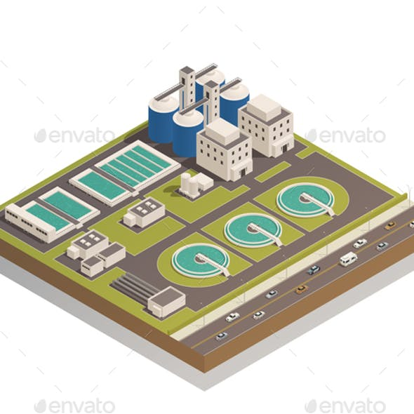 Waste Water Cleaning Isometric Composition