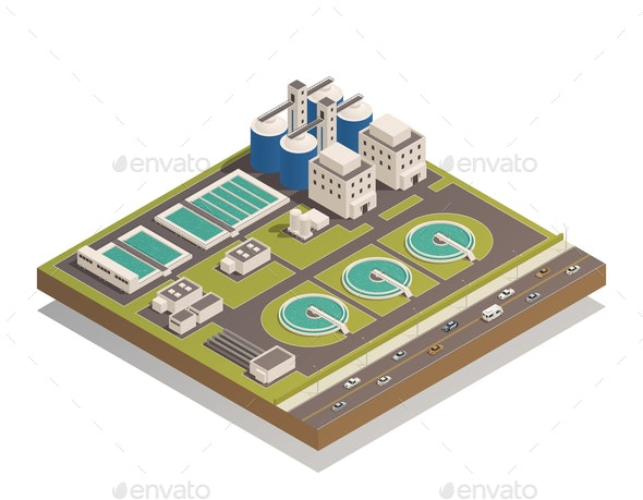 Waste Water Cleaning Isometric Composition - Buildings Objects