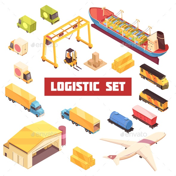 Logistic Transportation Isometric Elements Set