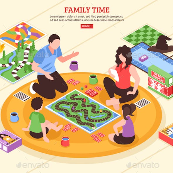 Board Games Family Isometric Illustration