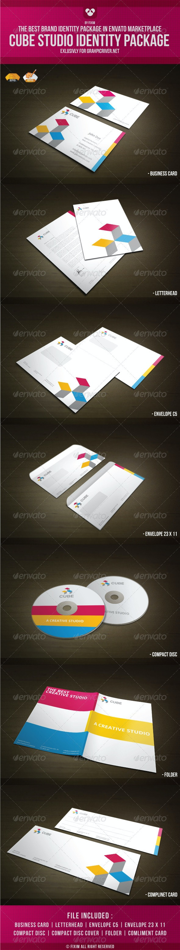 Cube Identity Package - Stationery Print Templates