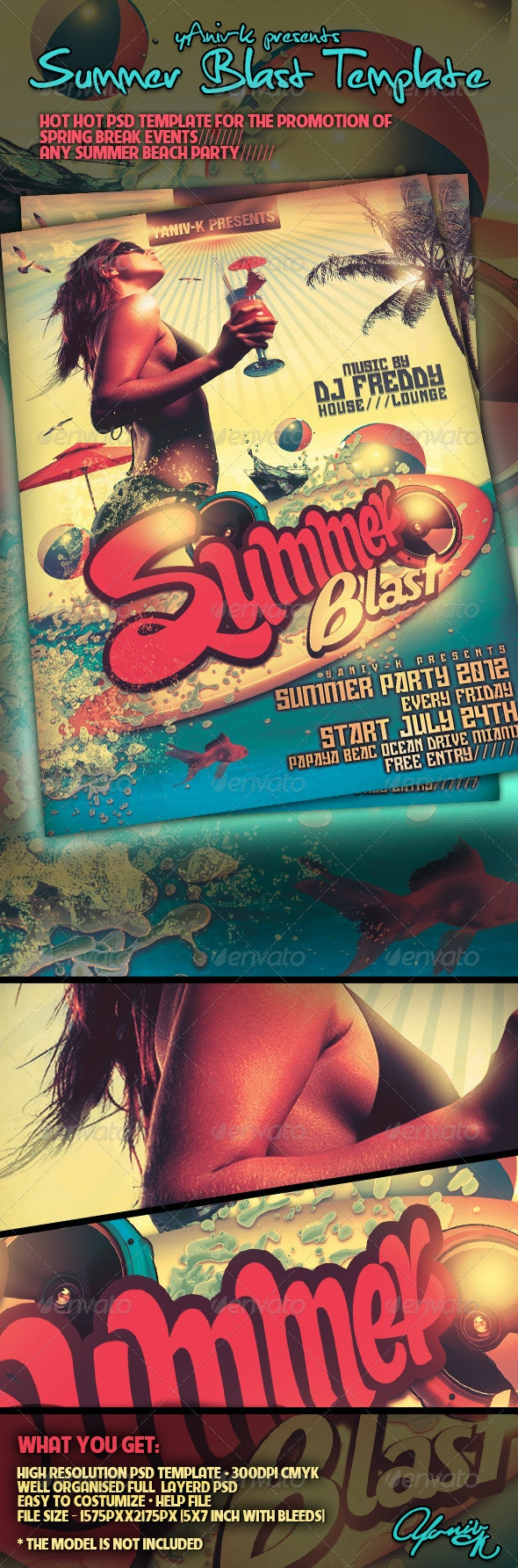 Summer Blast  Flyer Template - Flyers Print Templates
