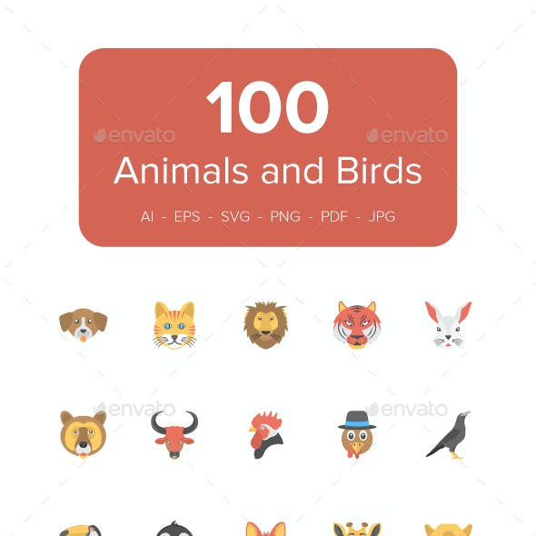 100 Flat Animals and Birds Icons