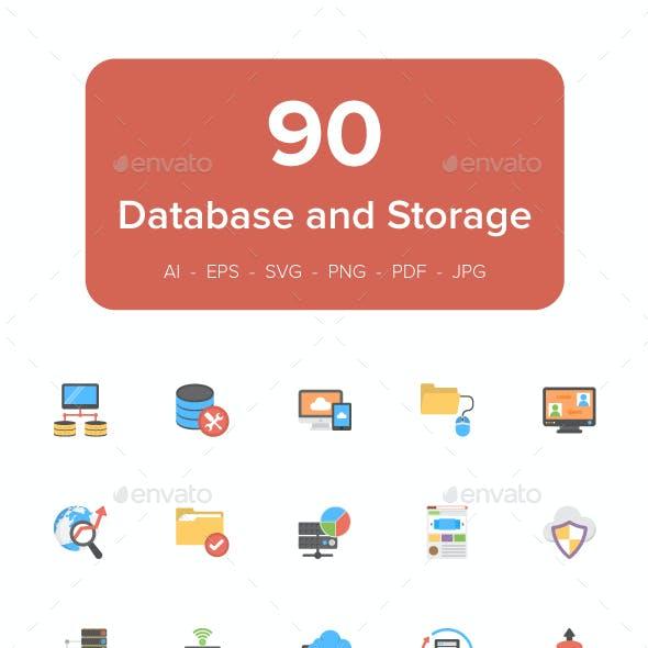 90 Database and Storage Flat Icons