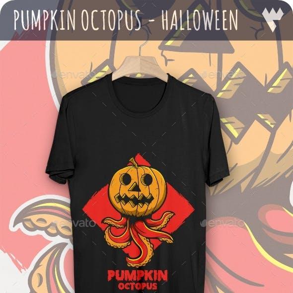 Pumpkin Octopus - Halloween T-Shirt Design