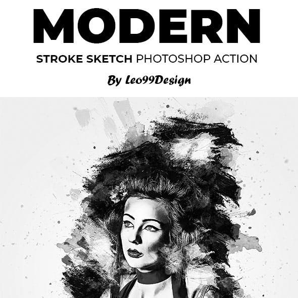 Modern Stroke Sketch Photoshop Action