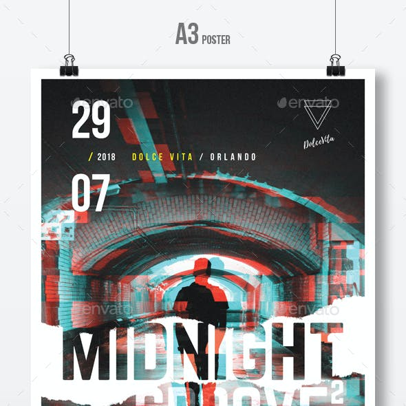 Midnight Groove 2 - Underground Party Flyer / Poster Template A3