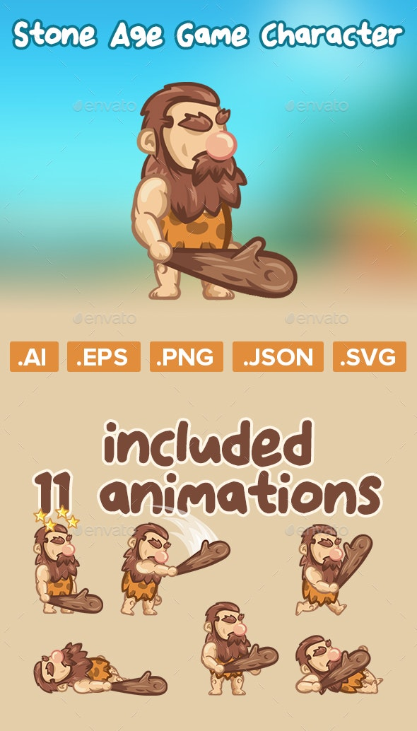 Stone Age Game Character 2D Sprite