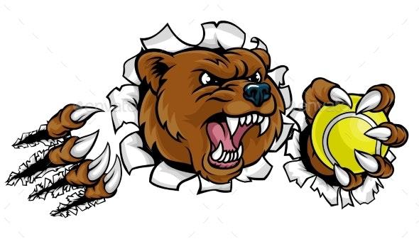 Bear Holding Tennis Ball Breaking Background