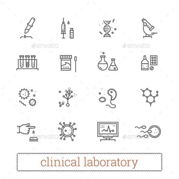 Clinical Laboratory, Medicine Science Line Icons.