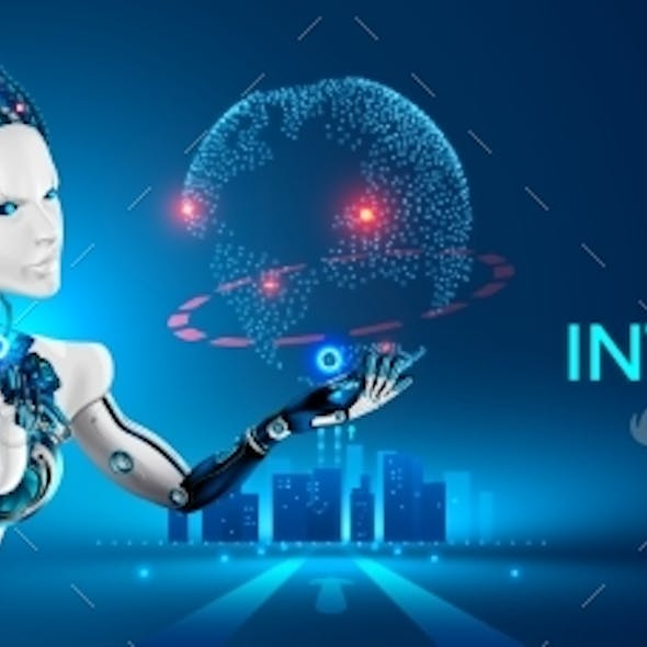 Robots man and woman with artificial intelligence. Machine cyborg. AI futuristic technology concept.