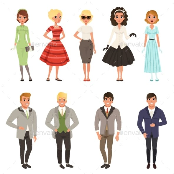 Young Men and Women Wearing Vintage Clothing Set