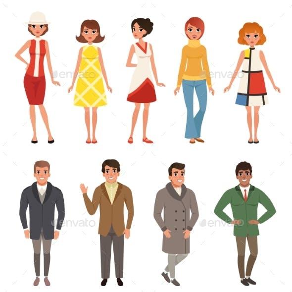 Young Men and Women Wearing Retro Clothing Set