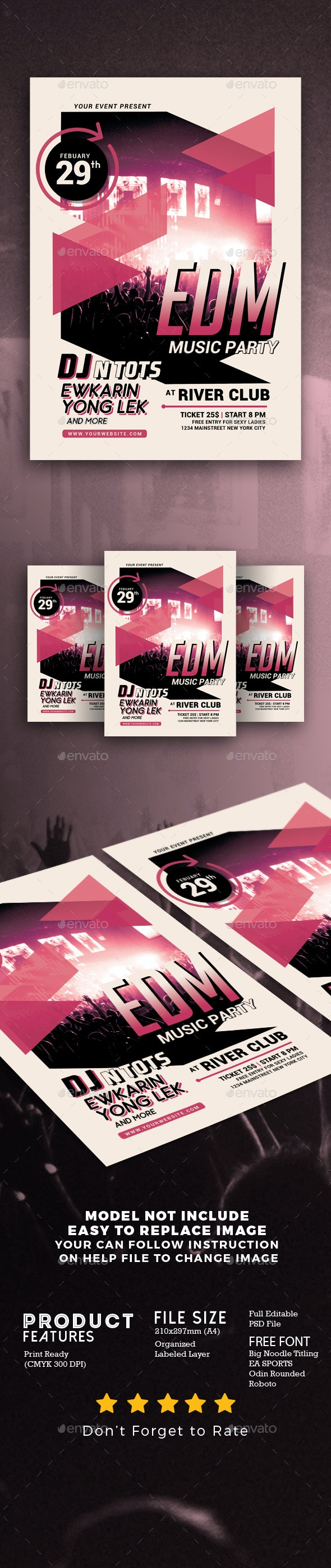 EDM Music Party Flyer - Events Flyers