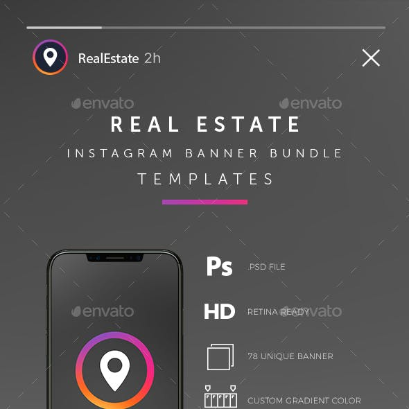 Real Estate Instagram Banner and Story Bundle Templates