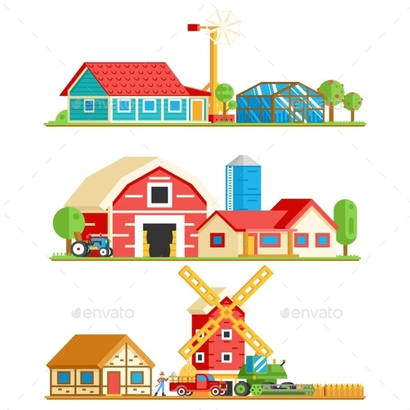 Farm Village Rural Buildings Trees Concept Vector