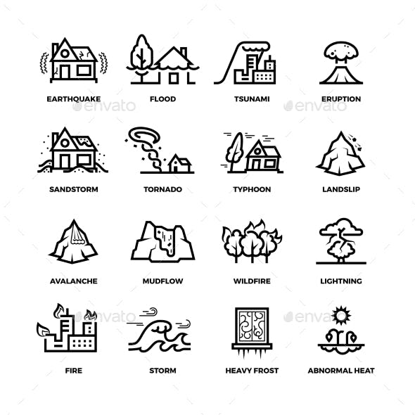 Natural Disaster Accidents Line Vector Icons