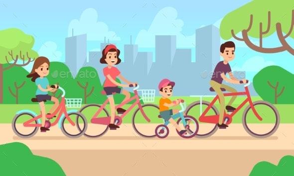 Children and Parents Riding Bikes