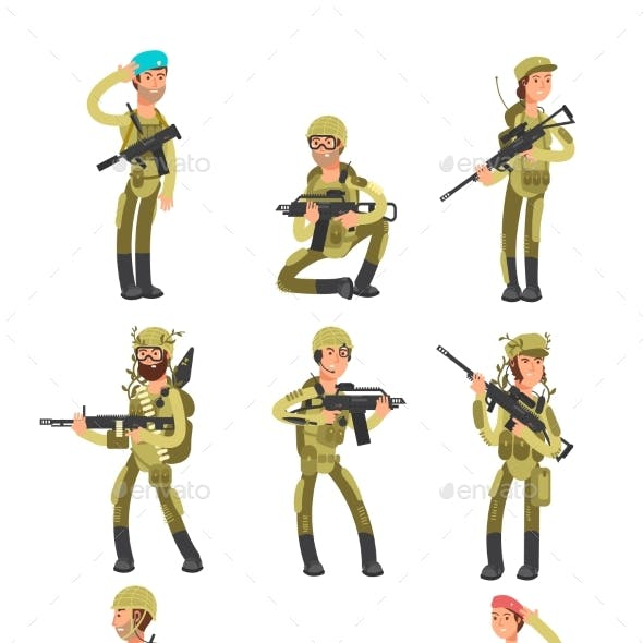 Cartoon Soldiers in Various Actions