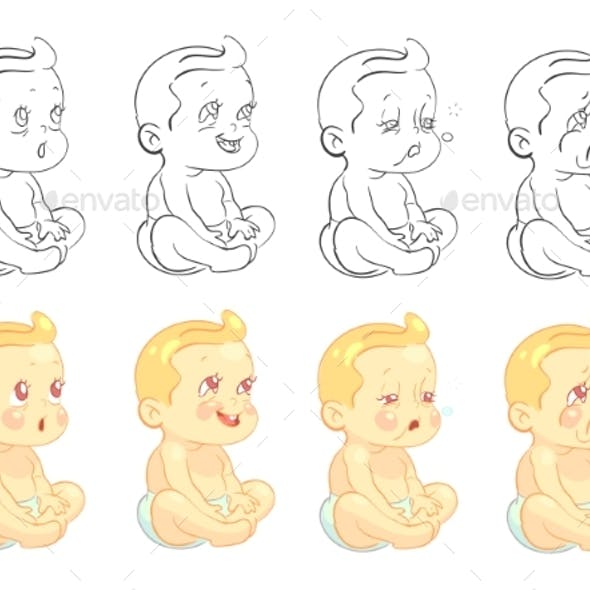 Emotional Baby Coloring Page with Samples