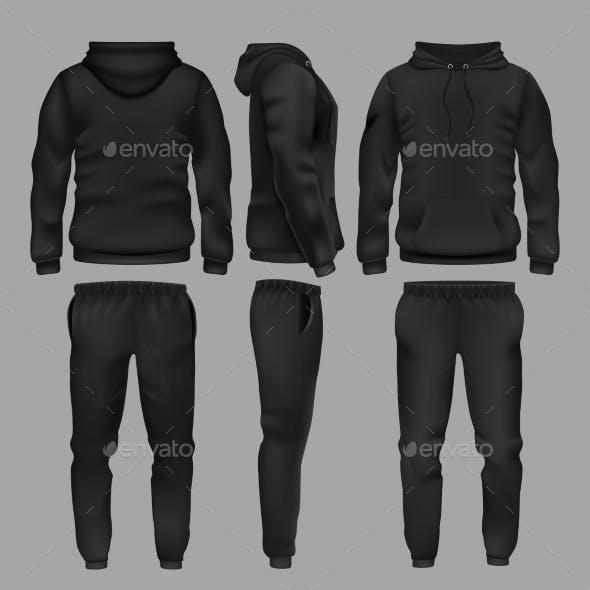 Black Man Sportswear Hoodie and Trousers Vector