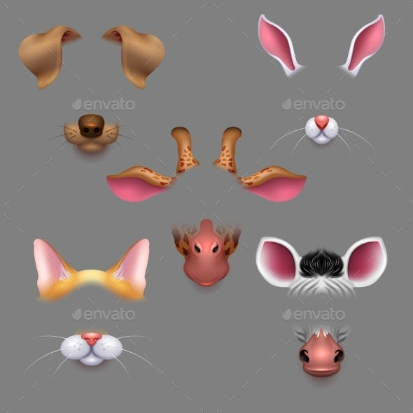 Animal Ears and Noses Vector Selfie Photo Filters