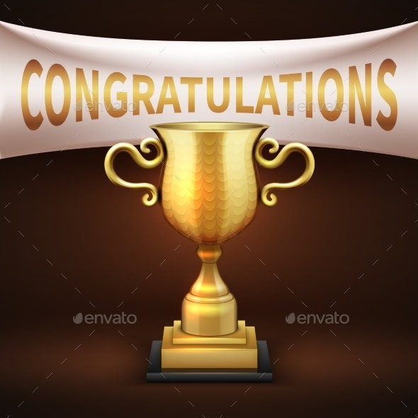 Golden Luxury Trophy Cup with White Textile Banner - Miscellaneous Conceptual
