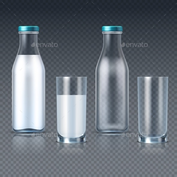 Realistic Glass Bottles and Glasses with Milk