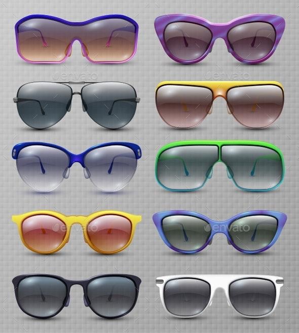 Realistic Fashion Sunglasses and Glasses Isolated