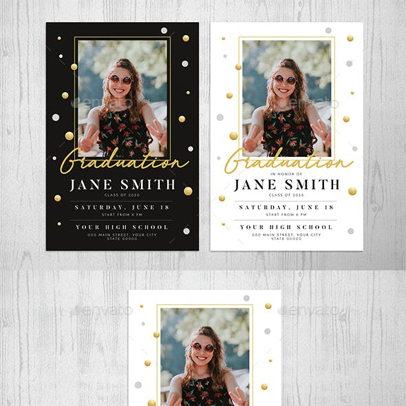 Gold Graduation Invitation by Guuver