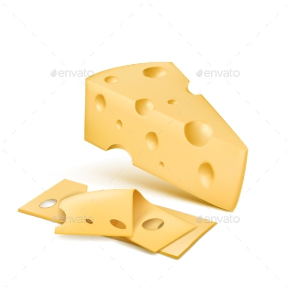 Vector Realistic Emmental Cheese Wedge with Slices - Food Objects