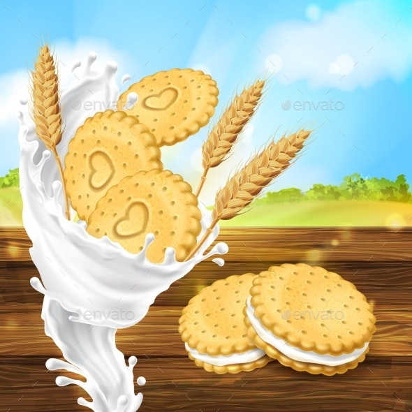 Vector Promotion Banner for Milky Cookies Brand - Food Objects