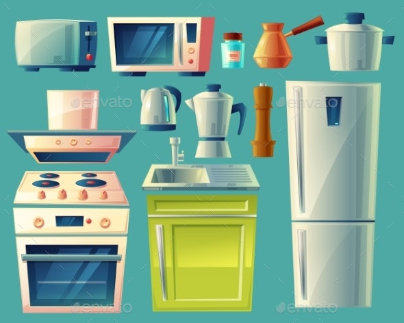 Vector Cartoon Set of Kitchen Appliances - Man-made Objects Objects
