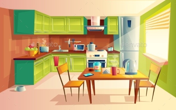 Vector Cartoon Illustration of Kitchen Interior - Miscellaneous Conceptual