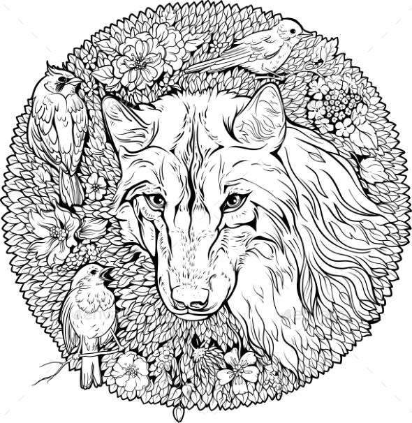 Coloring Page Wolf and Birds