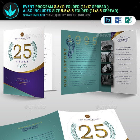 Regal Gold Lavender plus Teal Church Anniversary Program Template